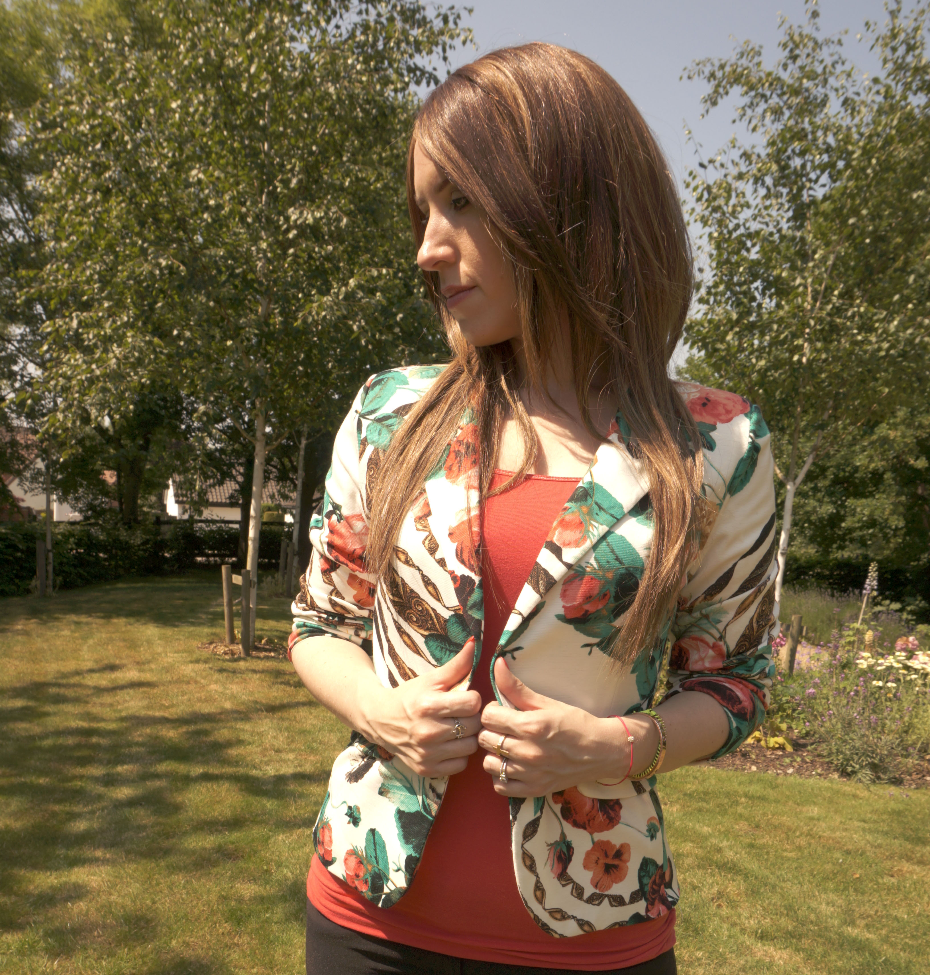 miss luxe floral jacket review
