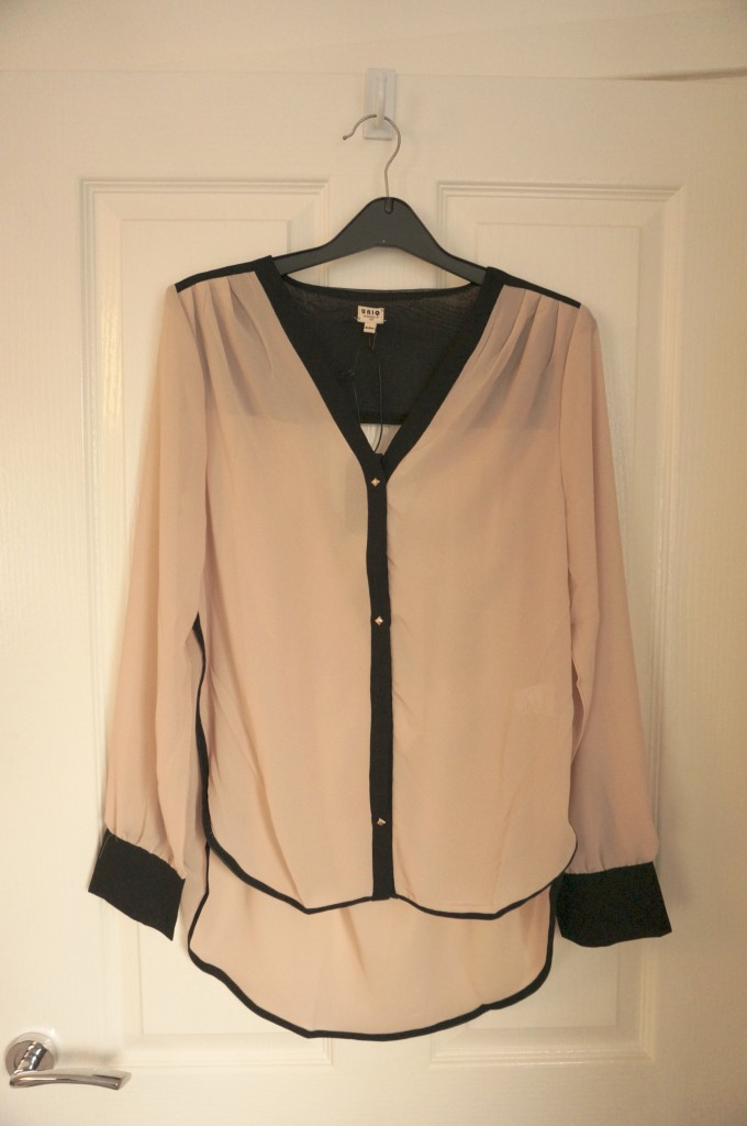 trimmed cut out blouse