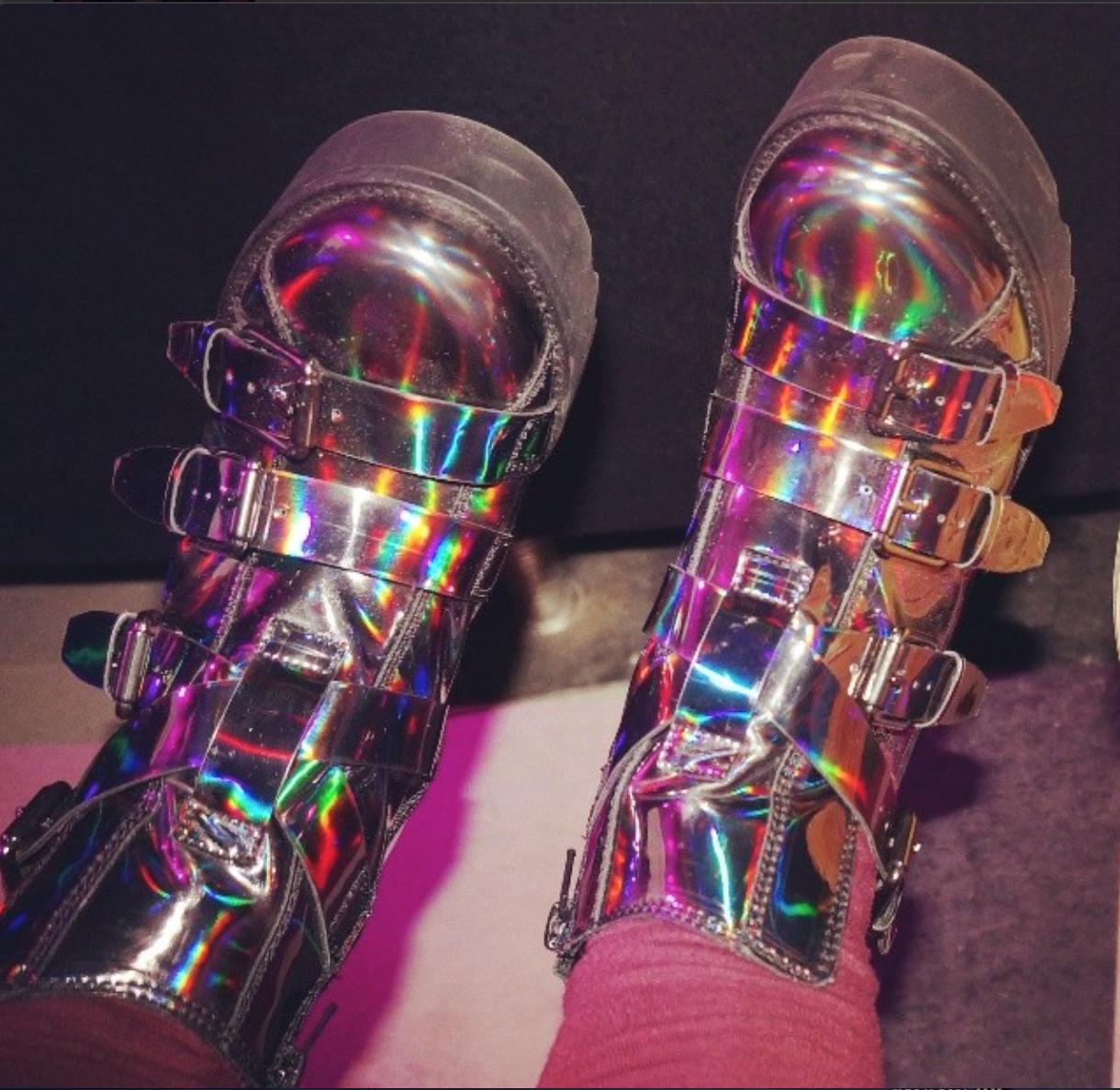 shoe selfie holographic