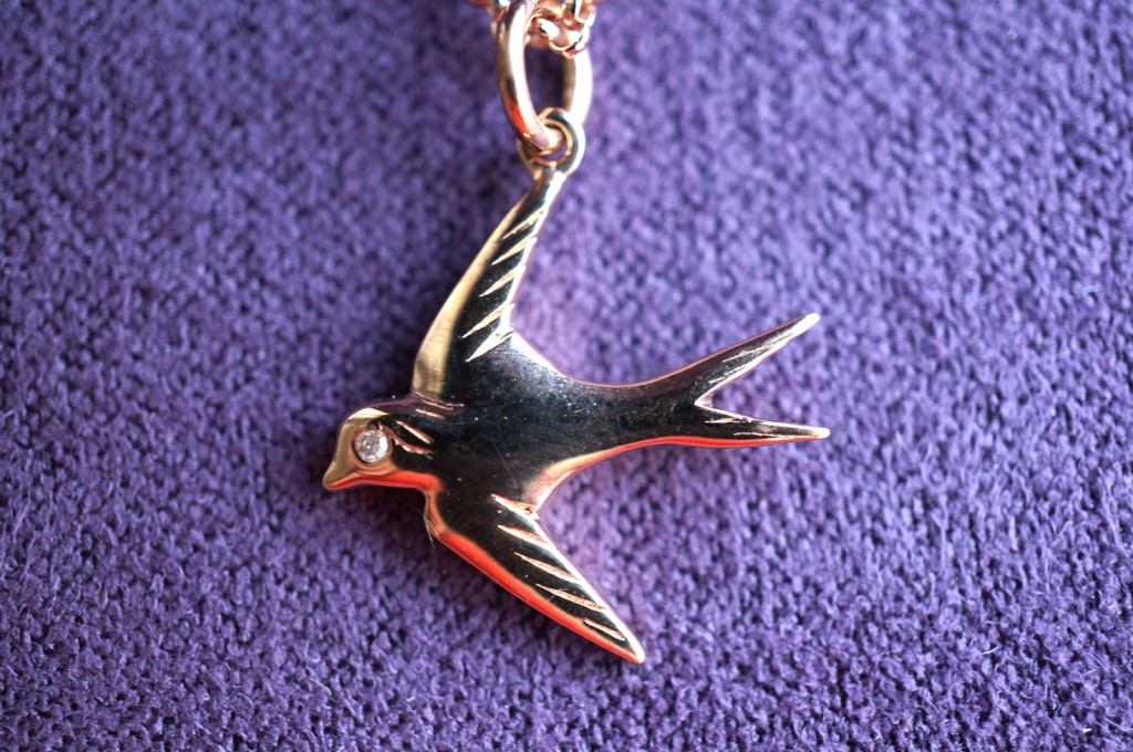 rose gold bird necklace